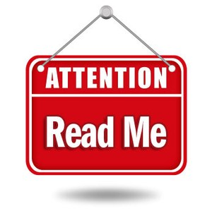 Attention - Please Read Sign