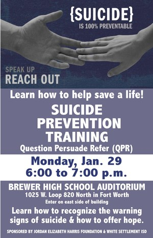 Suicide Prevention Training Jan. 29
