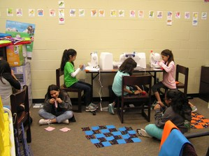 Sewing/Quilting Club beginning their sewing projects.