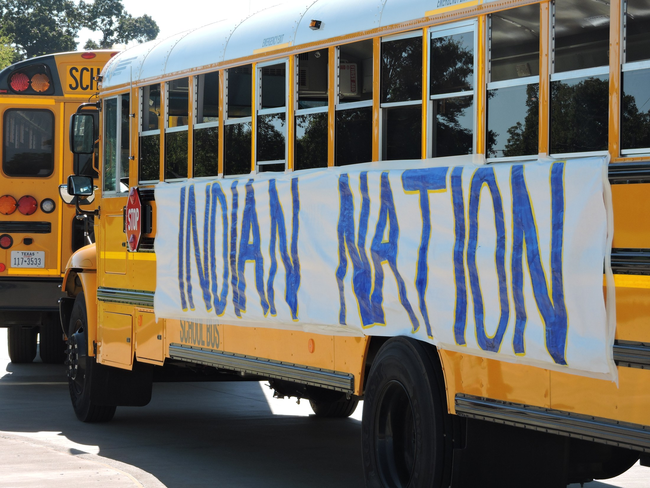 School bus with Indian Nation sign