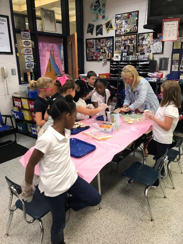 Recently Kelly Merritt's first grade classroom transformed into a factory and then to a bakery.