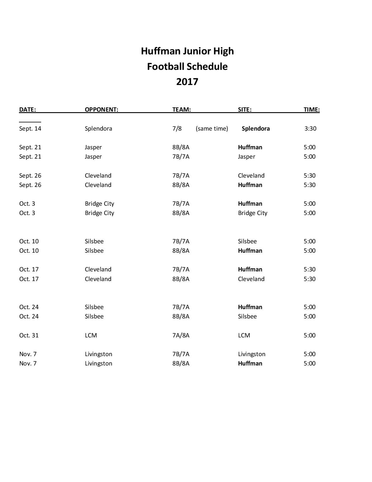 Updated Football Schedule