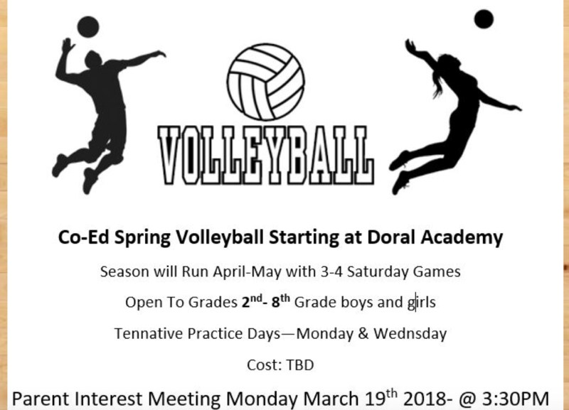 Monday, March 19th Meeting - Volley Ball Coed Grades 2-8 Thumbnail Image