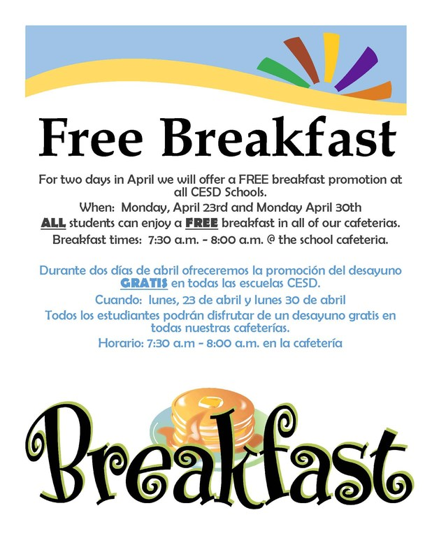 Free Breakfast at all schools Mondays