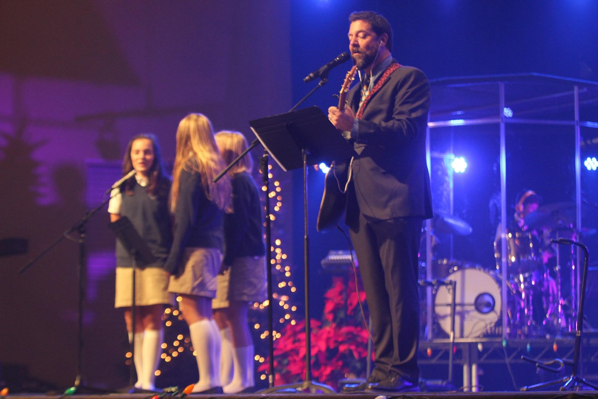 students singing at Christmas Chapel