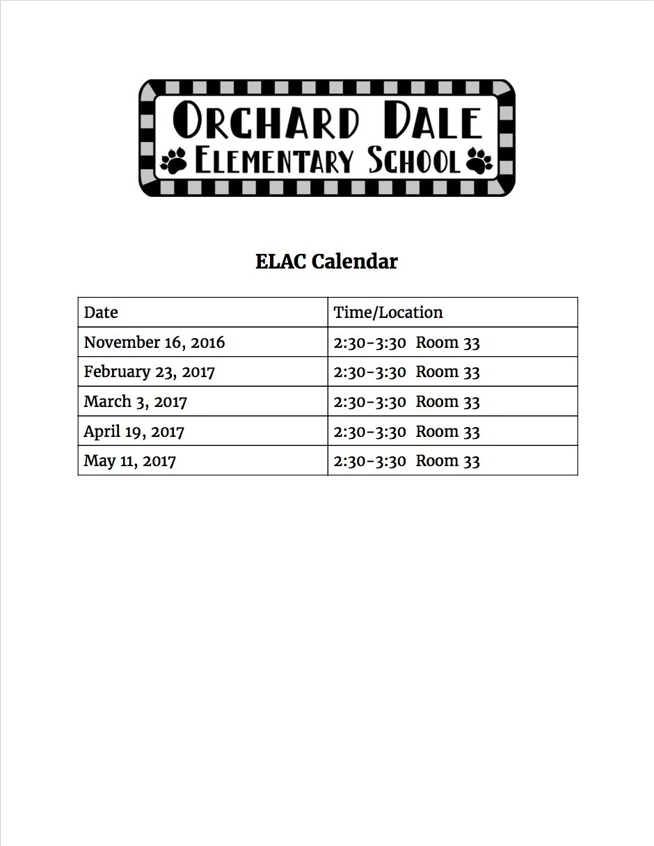 ELAC calendar flyer