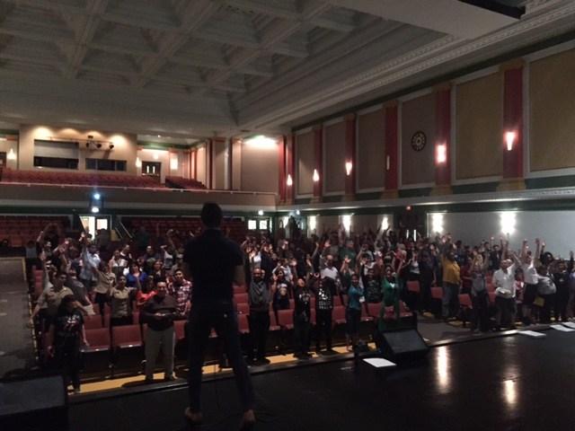 Parents in the Senn Auditorium for Freshman and Senior Parent Night