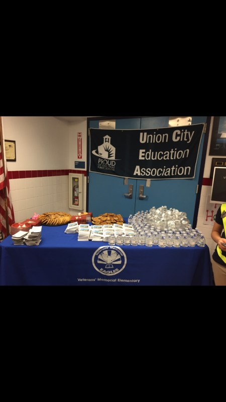 Union City Education Association welcome table