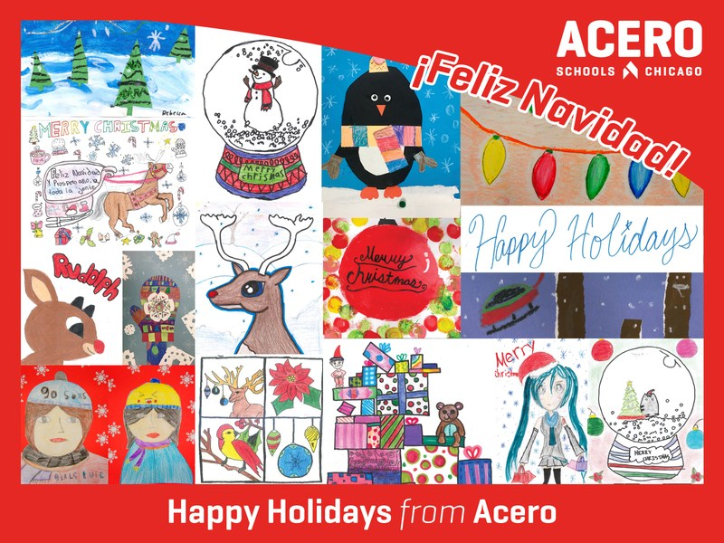 Collage of holiday themed artwork created by Acero students
