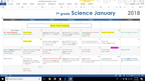 Curriculum Schedule for Science January 2018