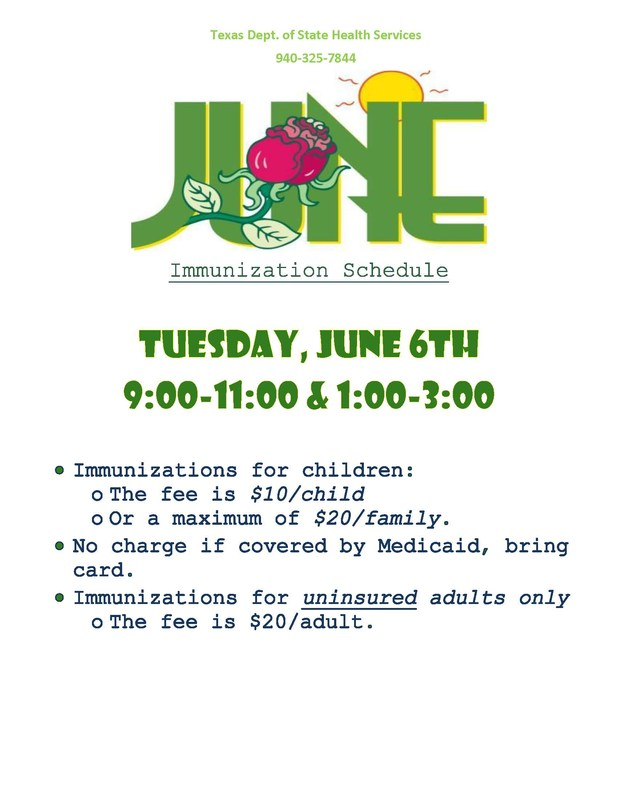 June 6th Immunization Clinic Flyer