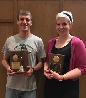 teacher & staff members of the Year Ryan Evans and Abbey Arwood