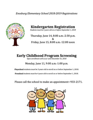 Dates & times of Kindergarten and Early Childhood Program