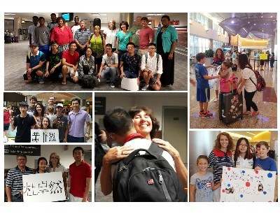 ELCA Host Families warmly greet students at the airport at the beginning of the school year