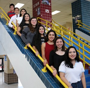 Group picture of the current VMHS AP Scholars on a staircase