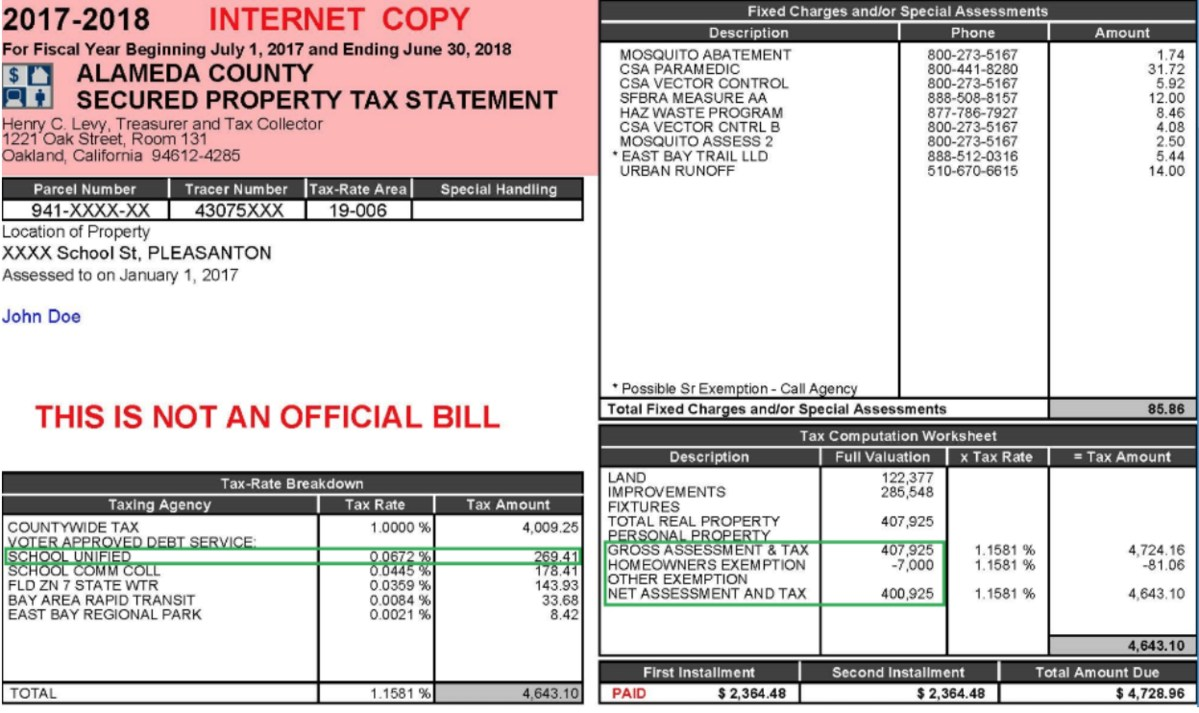 Photo of sample tax return