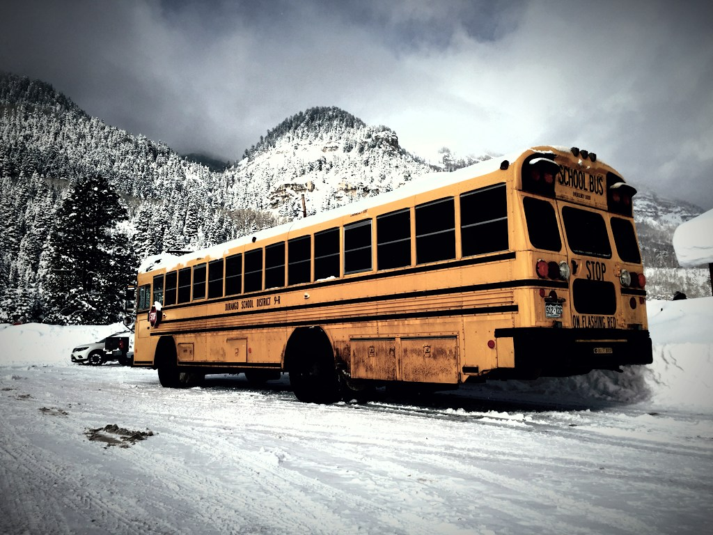 A snowy messy trip for one of our buses