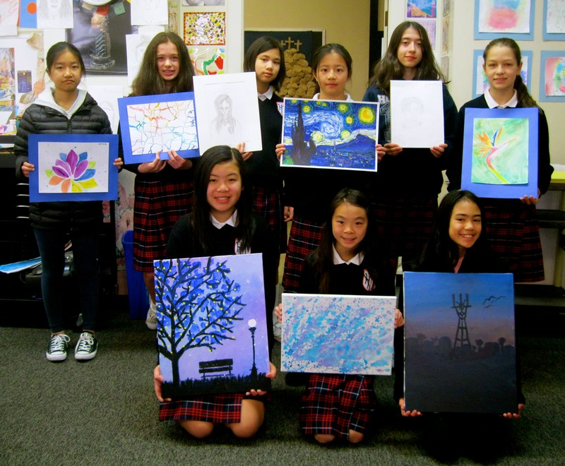 Holy Name Students in Mercy Burlingame Art Exhibit. Click to view other participants. Thumbnail Image