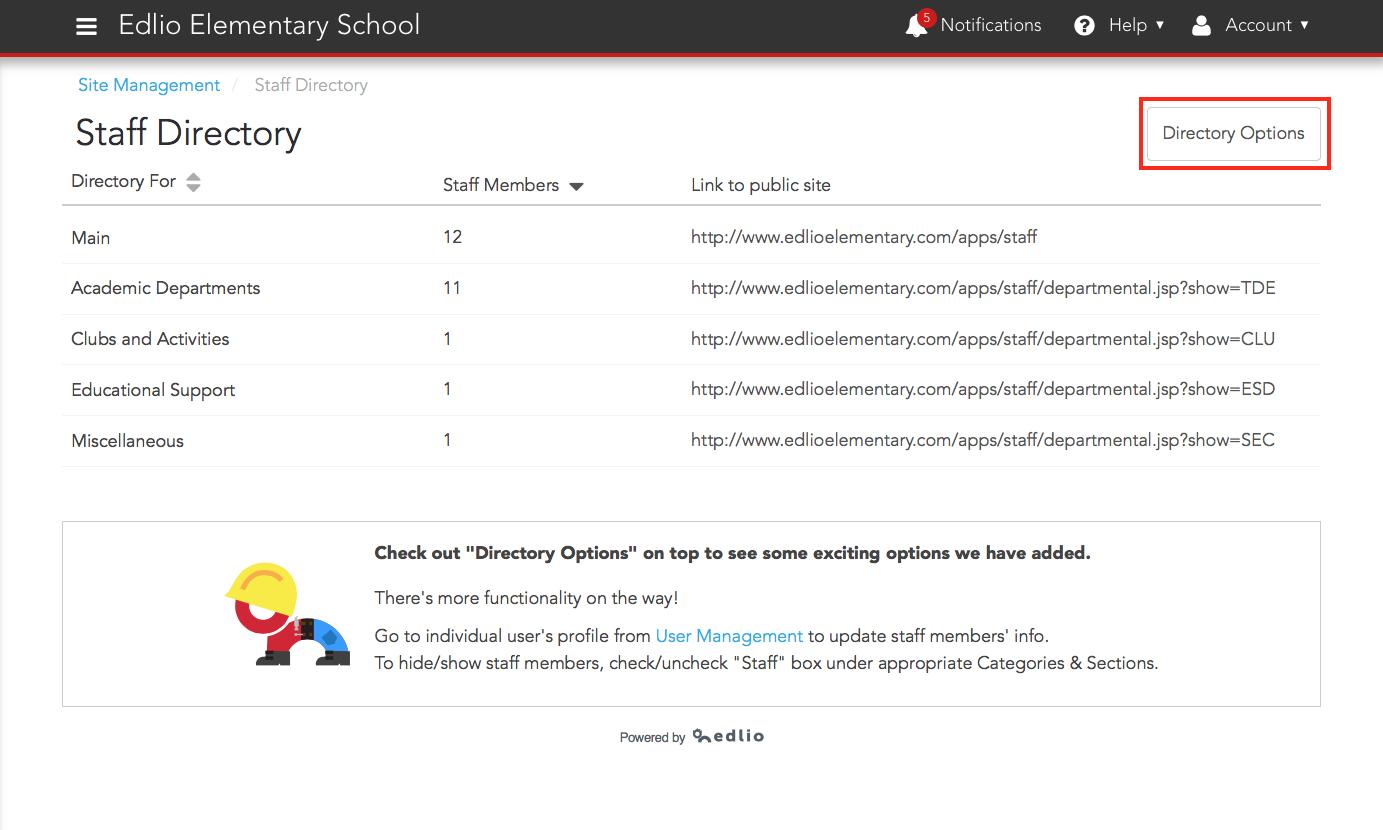 Click Directory Options