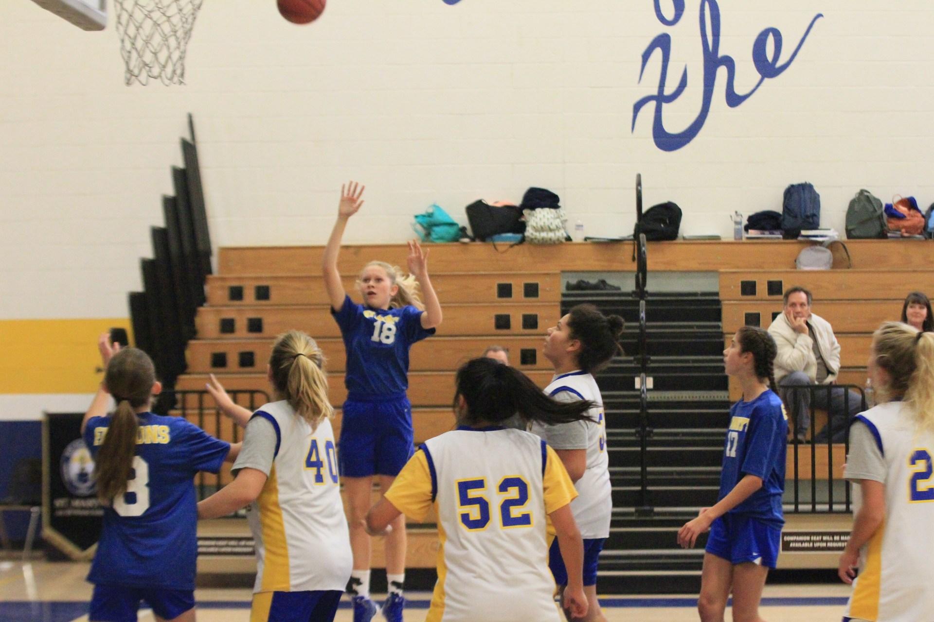 Girls shooting basketball