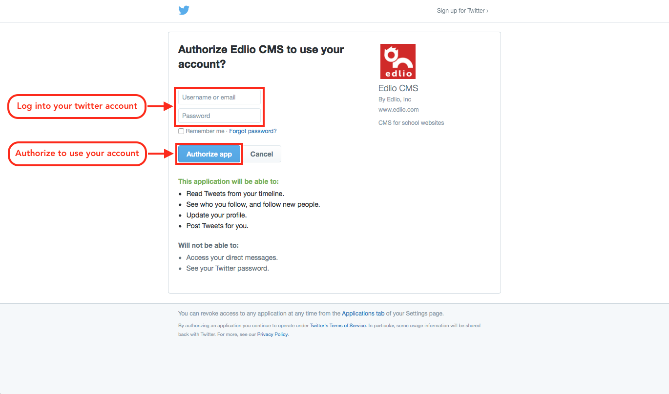 Authorize Edlio CMS to post to your Twitter account