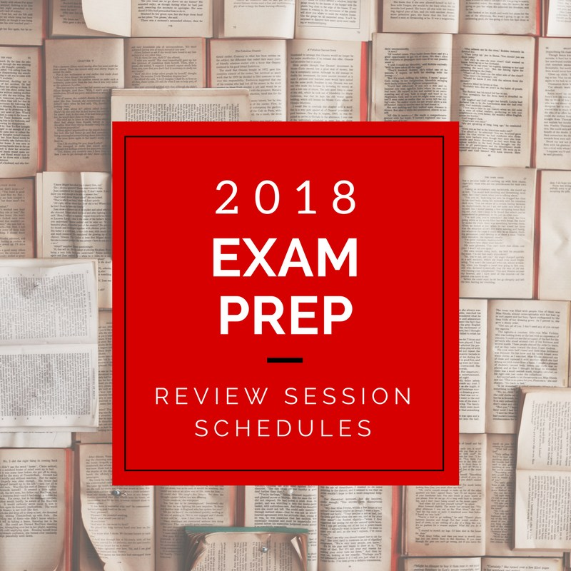 2018 Exam Review Session Schedules Featured Photo