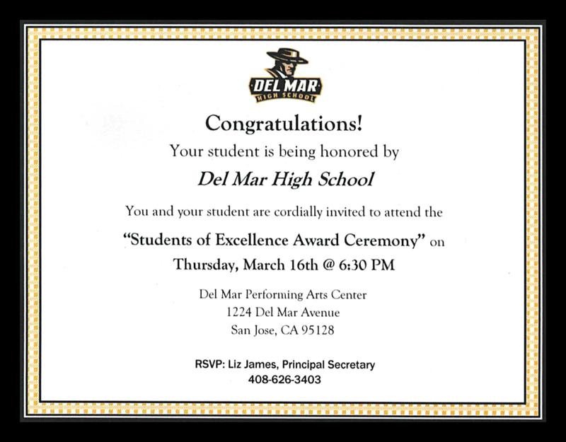 Image of Del Mar's Excellence Award Ceremony invitation