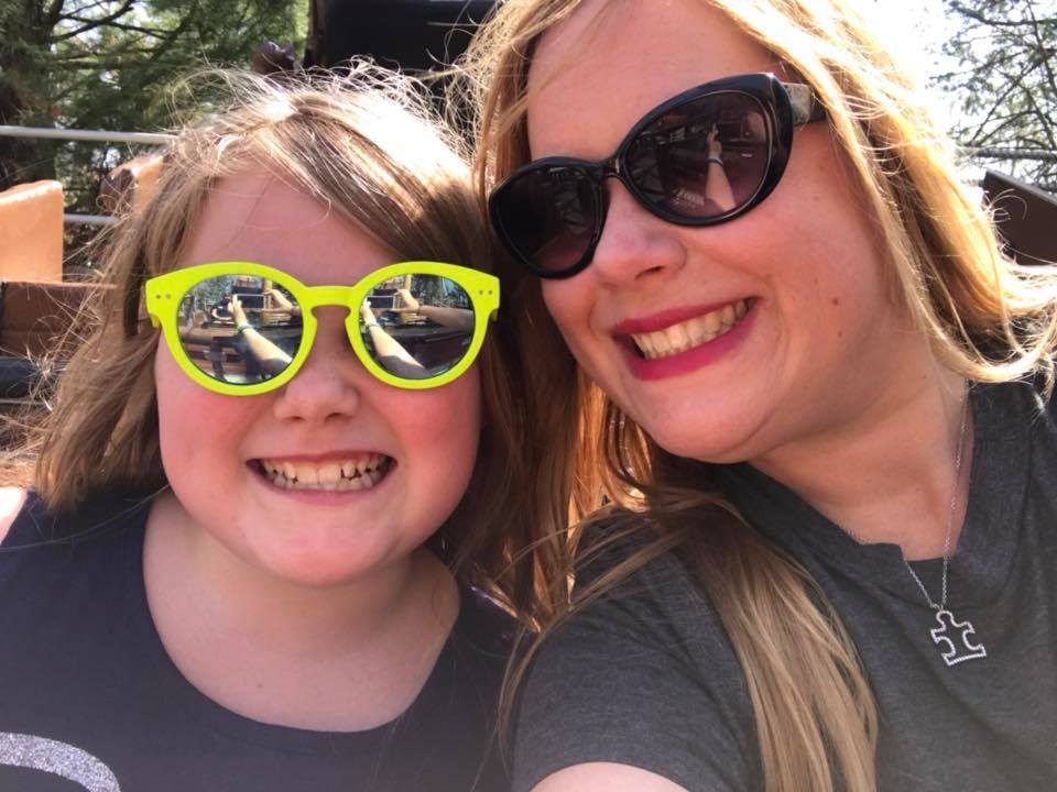 Mom and daughter with sunglasses on