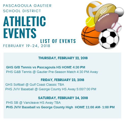 Athletic Events for Week of February 19, 2018