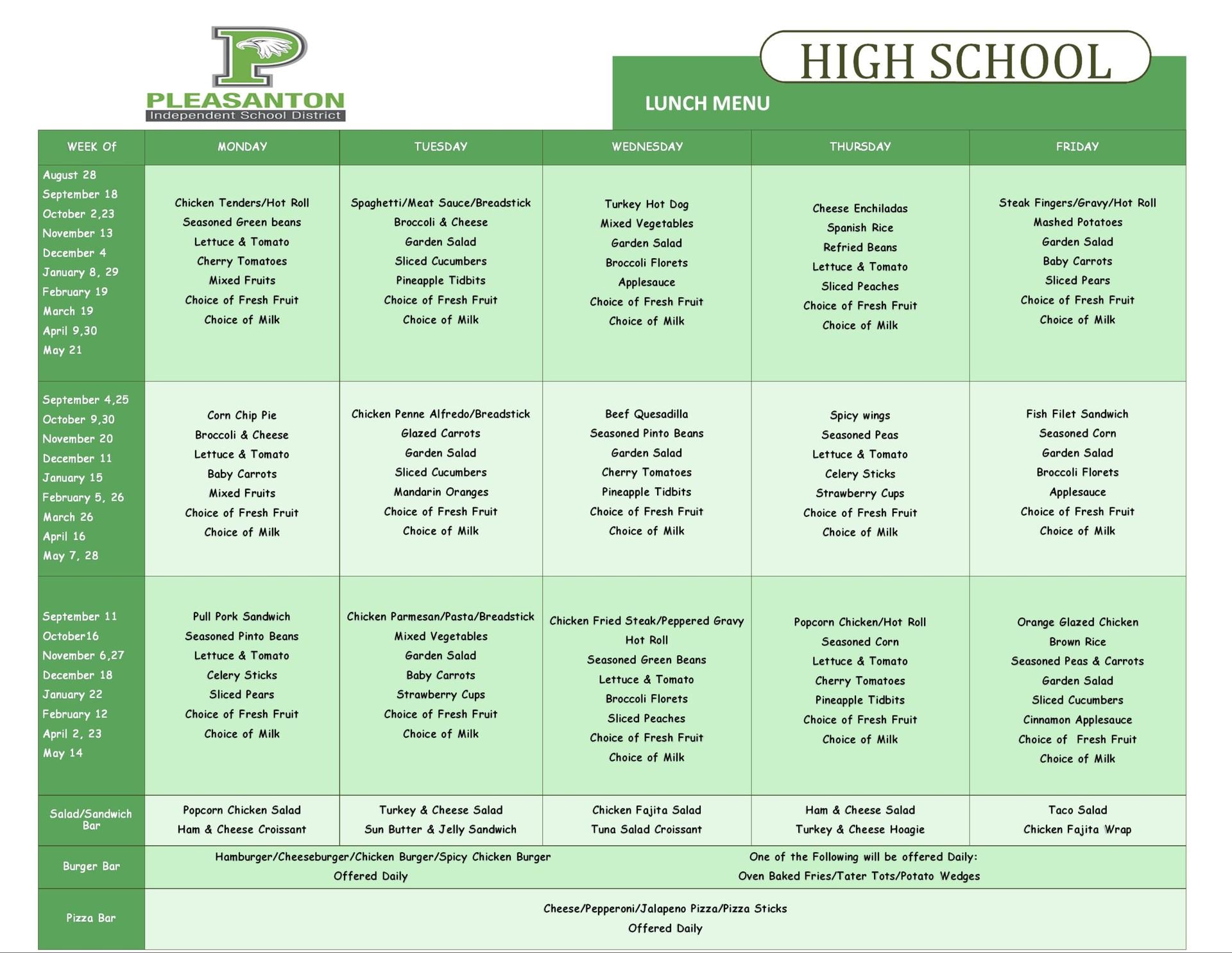 High School Lunch menu