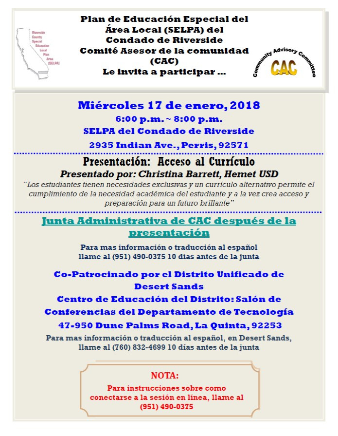 January 18, 2018 SELPA Espanol Document Image