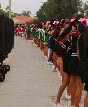 West Valley, Tahquitz, and Hemet High cheerleaders paying their respects at the Police Processional