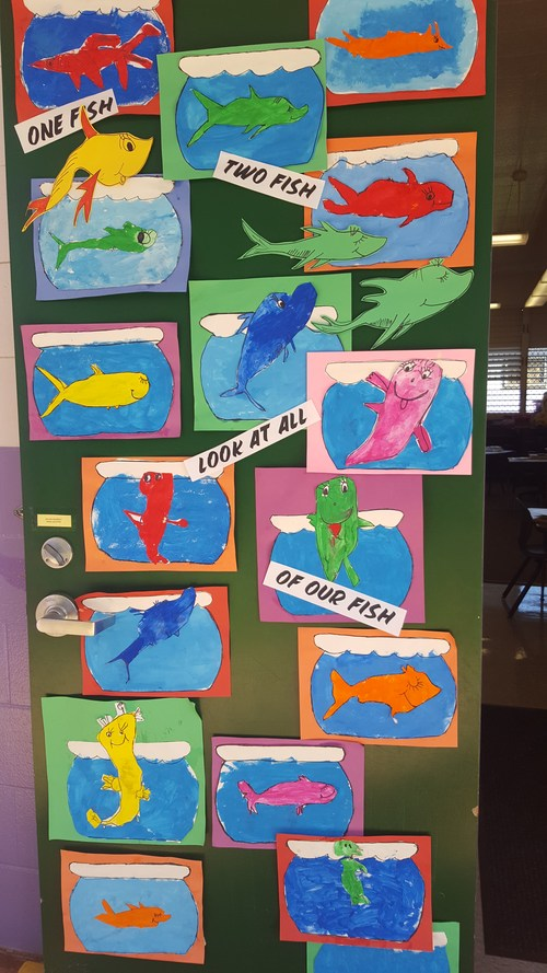 In honor of Dr. Seuss and to celebrate Read Across America Day, we drew and painted Dr. Seuss style fishes.