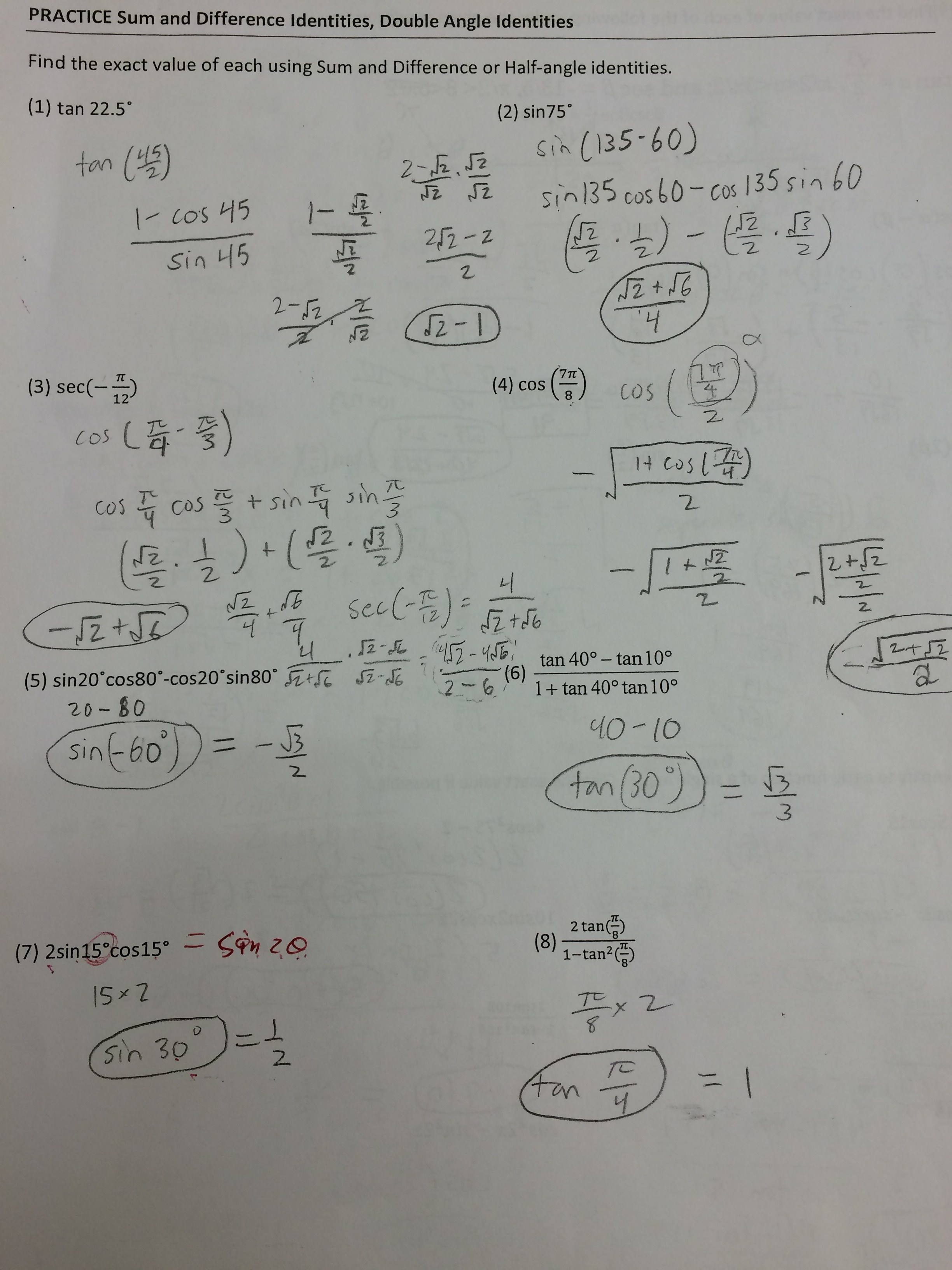 worksheet 5.3 Solving Trig Equations Practice Worksheet 1 Answers clayton valley charter high school practice sum difference double half page 1 key jpg
