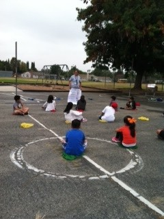 Students engaged in physical education.