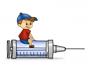Little boy sitting on a immunization shot needle