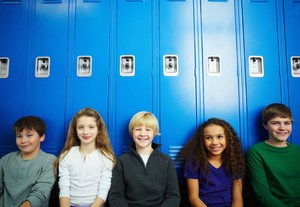 Group of students in front of lockers