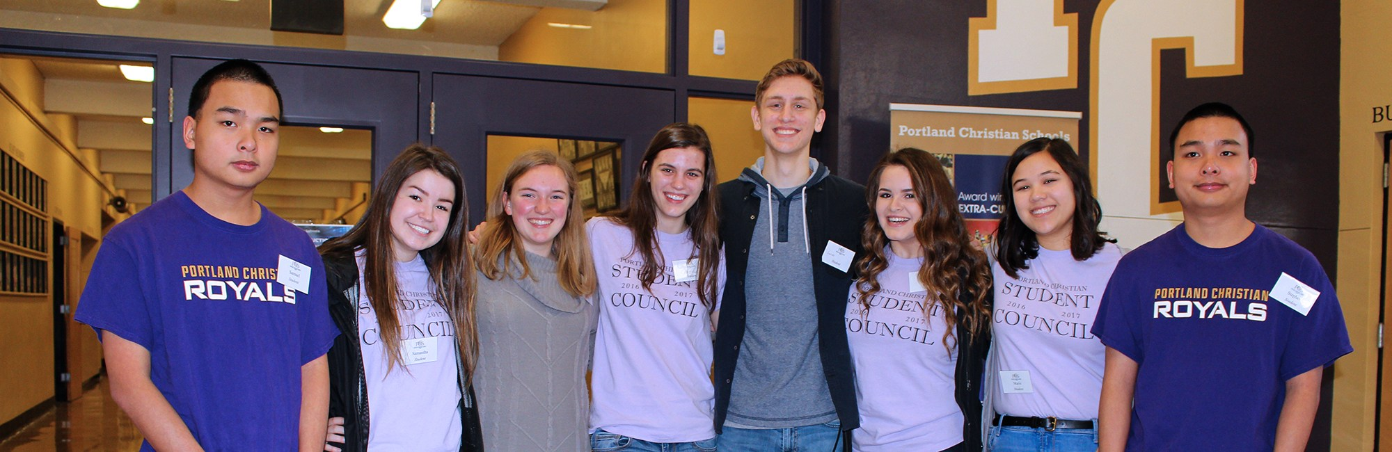 Students from Student Council and Honor Society at Open House event