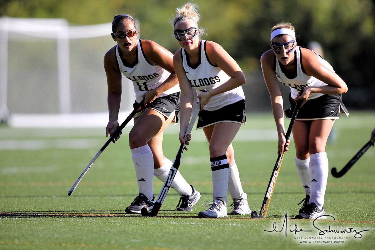 CHS girls field hockey players line up for inbound play