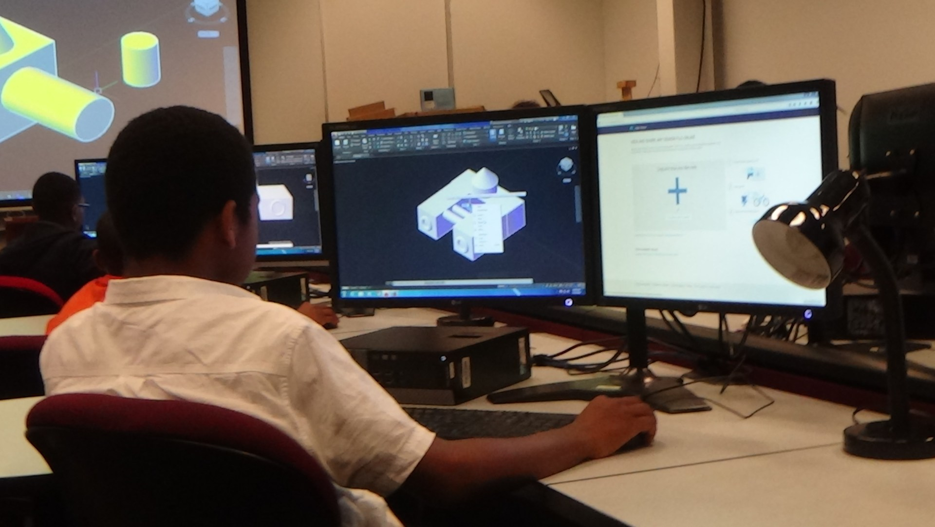 Student learning about CADD