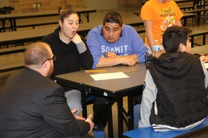 Administrator answering questions for families about sample question worksheet