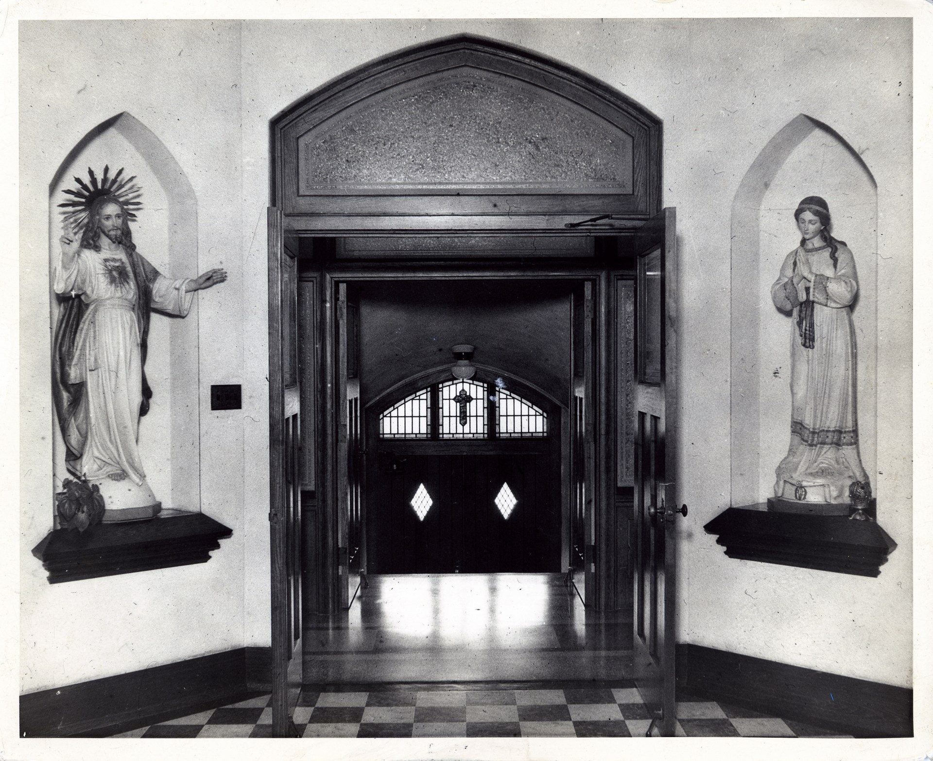 The doorway and statues inside the main entrance of OLSH