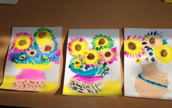 First Grade Van Gough Sunflowers