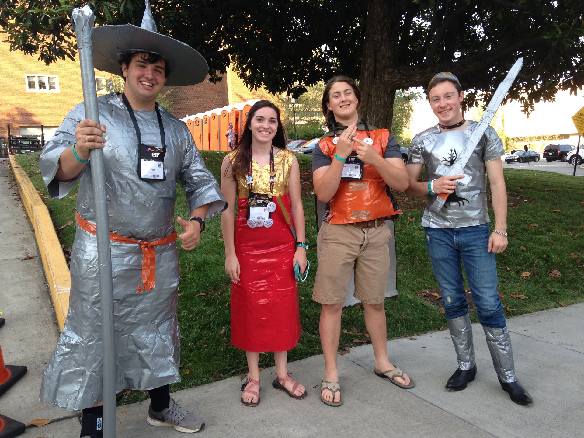 DI team in costumes made of duct tape
