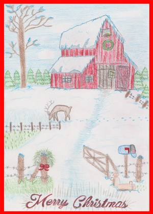 Christmas Card design of christmas snowy scene with a barn