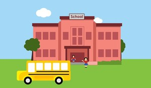Picture of School and School Bus