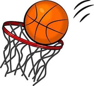 Basketball going into basket