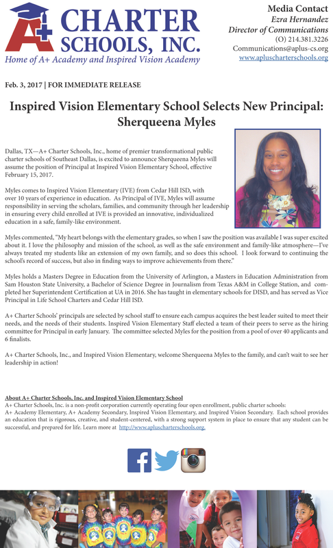 Inspired Vision Elementary Selects New Principal: Sherqueena Myles Thumbnail Image
