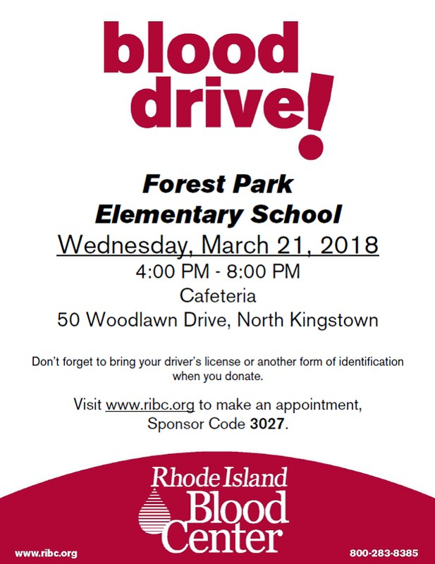 Forest Park Annual Blood Drive! Wednesday 3/21/2018 4:00 PM-8:00 PM Featured Photo