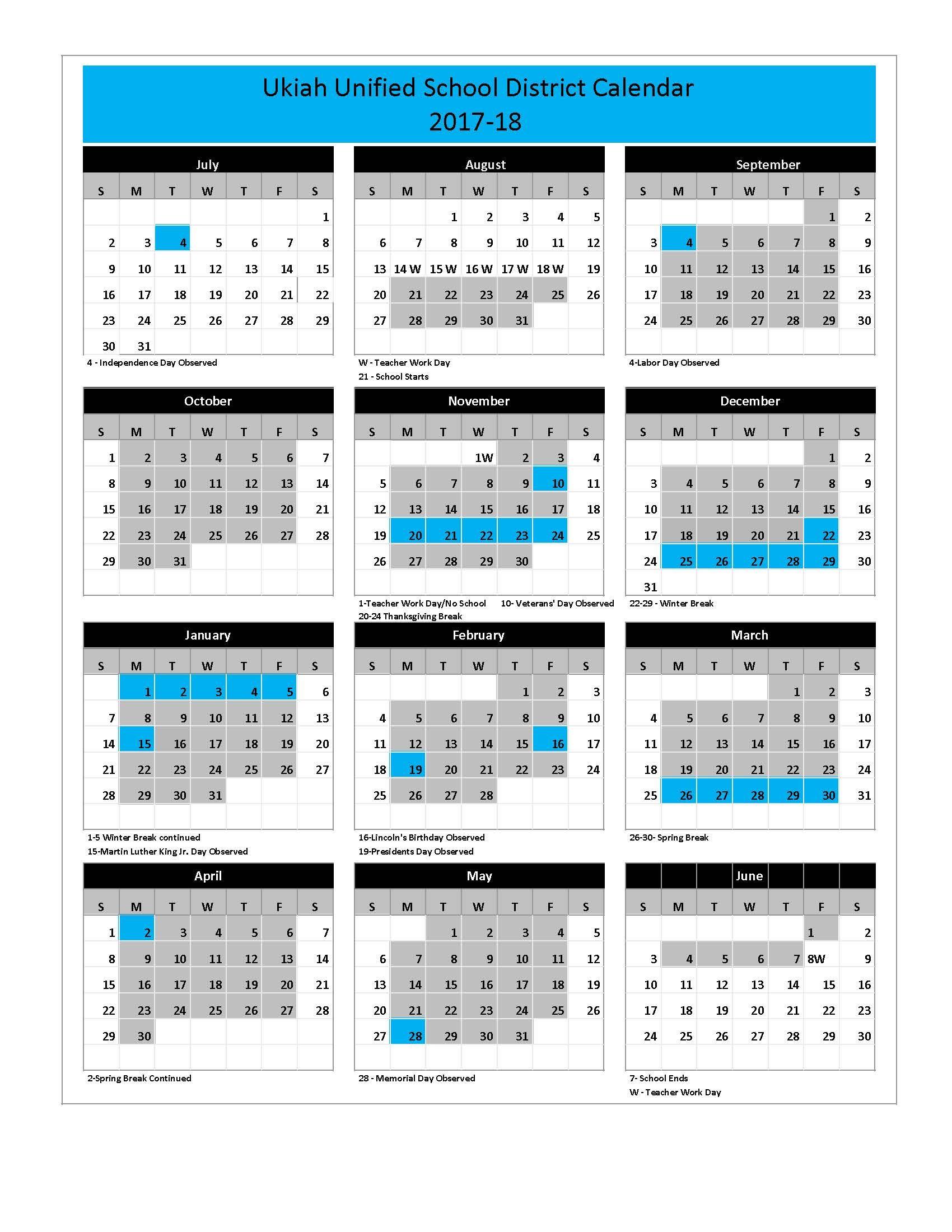 School Calendar 2017-18